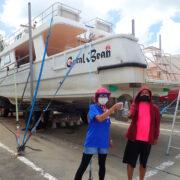 カラカラ先生ダイビングボート台風対策!!